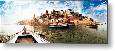 Boats In The Ganges River, Varanasi Metal Print by Panoramic Images