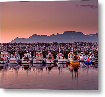 Boats In The Harbor With The Midnight Metal Print by Panoramic Images