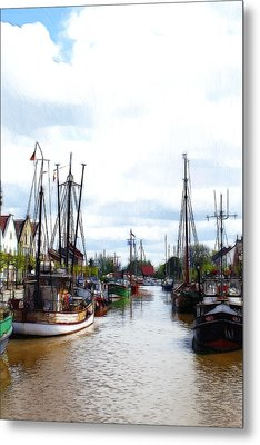 Boats In The Old Harbor Metal Print by Steve K