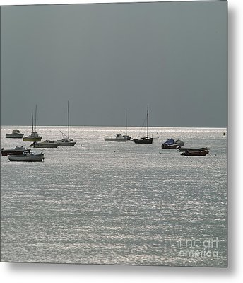 Boats In The Sea. Normandy. France. Europe Metal Print by Bernard Jaubert