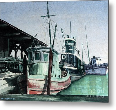 Metal Print featuring the painting Boats by Joey Agbayani