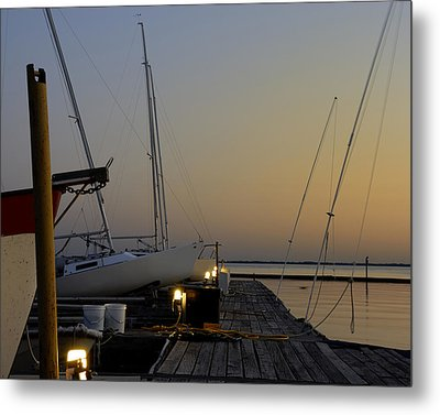 Boats Moored To Pier At Sunset Metal Print