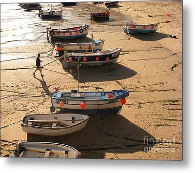 Boats On Beach Metal Print by Pixel  Chimp