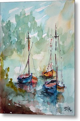 Boats On Lake  Metal Print by Faruk Koksal