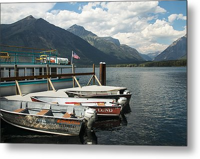Boats On Lake Mcdonald Metal Print