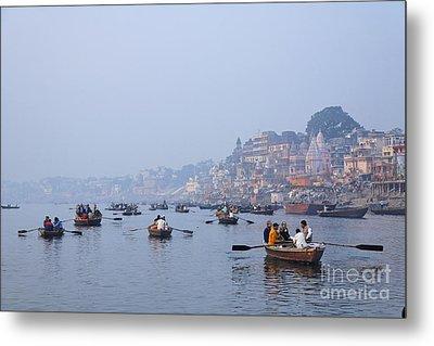 Boats On The River Ganges At Varanasi In India Metal Print by Robert Preston