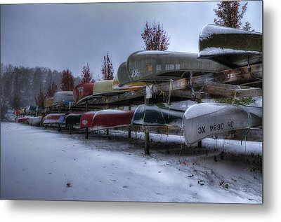 Boats Stored For Winter Metal Print by Steve Hurt