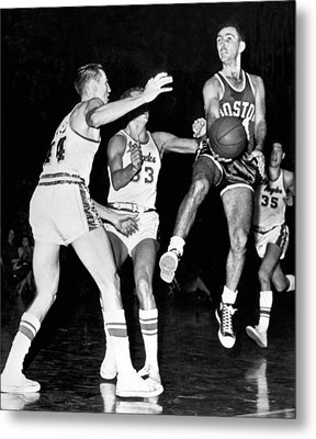 Bob Cousy Passes Basketball Metal Print