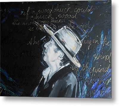 Bob Dylan - Blowing In The Wind Metal Print by Lucia Hoogervorst