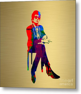 Bob Dylan Gold Series Metal Print by Marvin Blaine