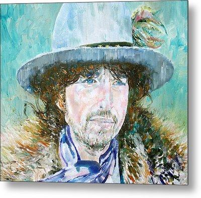 Bob Dylan Oil Portrait Metal Print