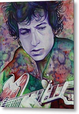 Bob Dylan-pink And Green Metal Print by Joshua Morton