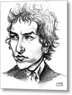 Metal Print featuring the drawing Bob Dylan Sketch Portrait by John Ashton Golden