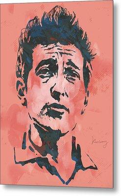 Bob Dylan - Stylised Etching Pop Art Poster Metal Print by Kim Wang