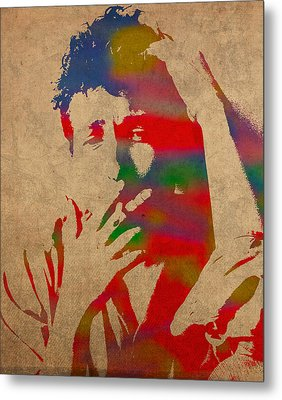 Bob Dylan Watercolor Portrait On Worn Distressed Canvas Metal Print by Design Turnpike