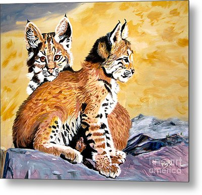 Metal Print featuring the painting Bob Kittens by Phyllis Kaltenbach