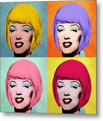 Bob Marilyn  Set Of 4 Metal Print by Filippo B