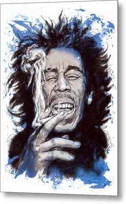 Bob Marley Colour Drawing Art Poster Metal Print