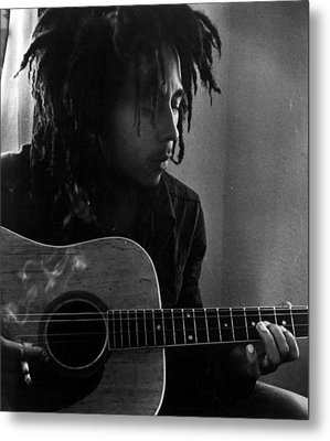 Bob Marley Leaning Over Guitar Metal Print by Retro Images Archive
