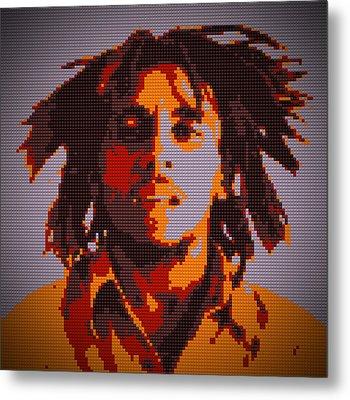 Bob Marley Lego Pop Art Digital Painting Metal Print by Georgeta Blanaru