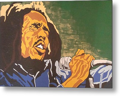 Metal Print featuring the painting Bob Marley by Rachel Natalie Rawlins