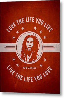 Bob Marley - Red Metal Print by Aged Pixel