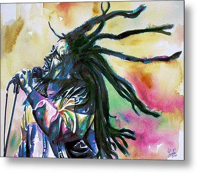 Bob Marley Singing Portrait.1 Metal Print by Fabrizio Cassetta