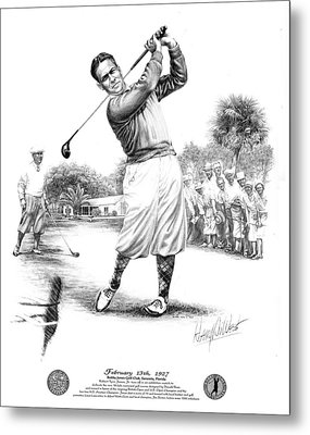 Bobby Jones At Sarasota - Black On White Metal Print by Harry West