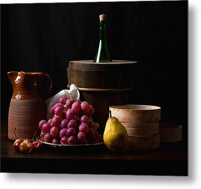 Bodegon With Grapes-pear And Boxes Metal Print by Levin Rodriguez