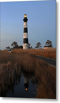 Bodie Island Light Reflection Metal Print