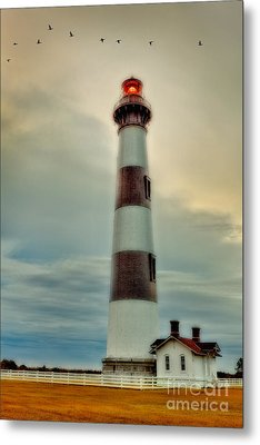 Bodie Lighthouse Outer Banks Abstract Painting Metal Print by Dan Carmichael