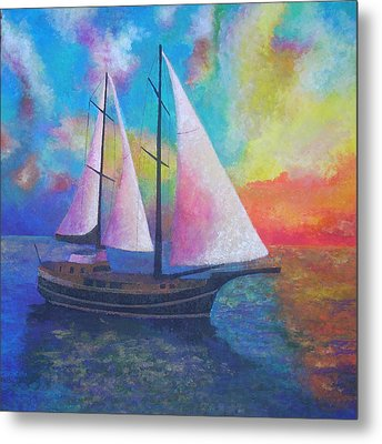 Metal Print featuring the painting Bodrum Gulet Cruise by Tracey Harrington-Simpson