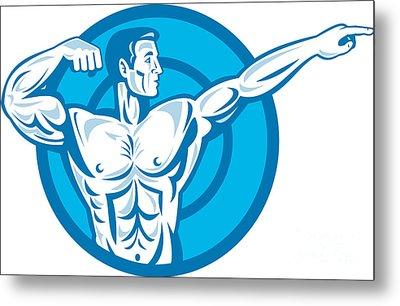 Bodybuilder Flexing Muscles Pointing Side Retro Metal Print by Aloysius Patrimonio