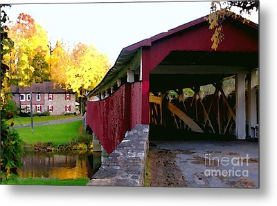 Metal Print featuring the photograph Bogerts Covered Bridge Allentown Pa by Jacqueline M Lewis