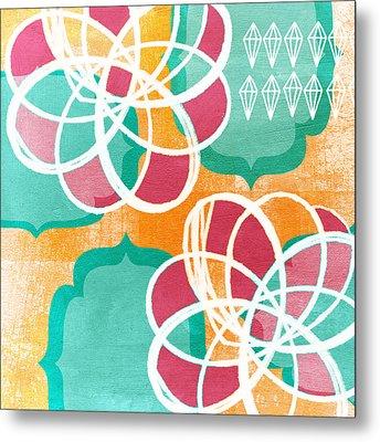 Boho Floral 1 Metal Print by Linda Woods