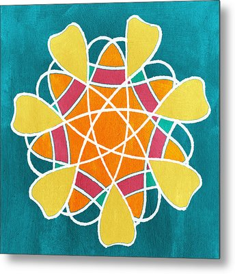 Boho Floral Mandala Metal Print by Linda Woods