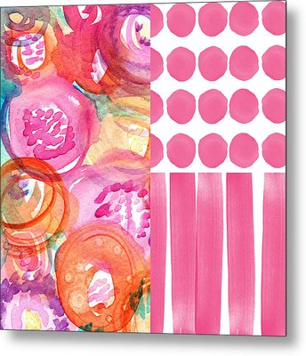 Boho Flower Patchwork- Watercolor Art Metal Print by Linda Woods