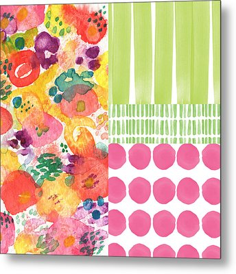 Boho Garden Patchwork- Floral Painting Metal Print