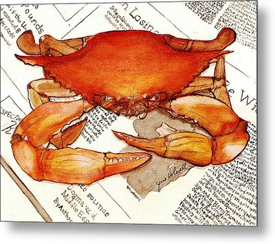 Boiled Crab Metal Print