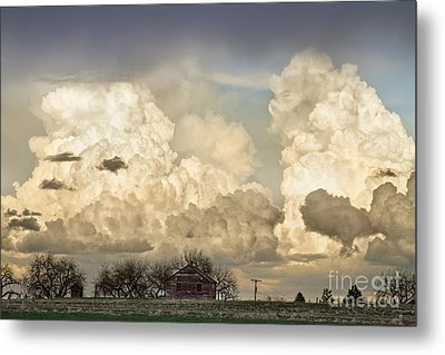 Boiling Thunderstorm Clouds And The Little House On The Prairie Metal Print by James BO  Insogna