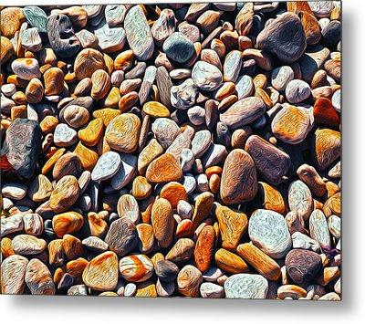 Boisterous Beach Stones Metal Print by Joe Schofield