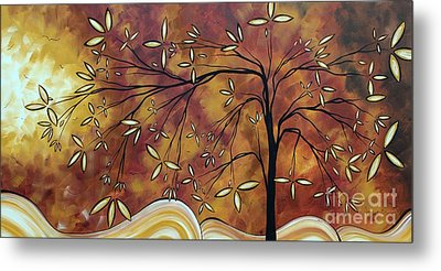 Bold Neutral Tones Abstract Landscape Art Oversized Original Painting The Wishing Tree By Madart Metal Print by Megan Duncanson