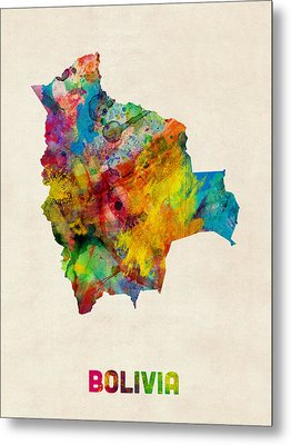 Bolivia Watercolor Map Metal Print by Michael Tompsett