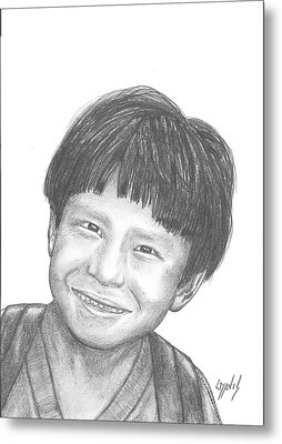 Metal Print featuring the drawing Bolivian Jungle Child by Lew Davis