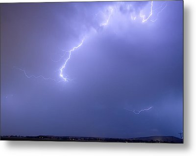 Bolts Of Lightning Arcing Through The Night Sky Metal Print by James BO  Insogna