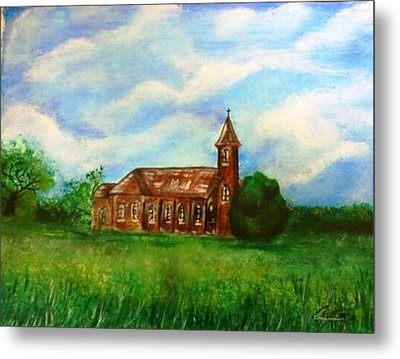 Metal Print featuring the painting Bomarton Church by The GYPSY And DEBBIE