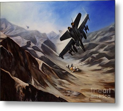 Metal Print featuring the painting Bomb Run by Stephen Roberson