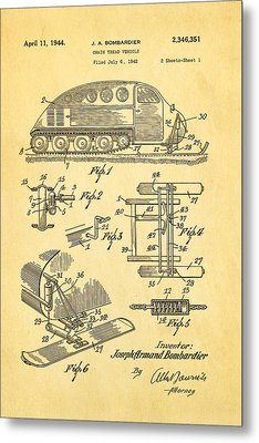 Bombardier Chain Tread Vehicle Patent Art 1944 Metal Print by Ian Monk