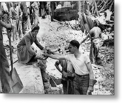 Bombing Raid In England Metal Print by Underwood Archives