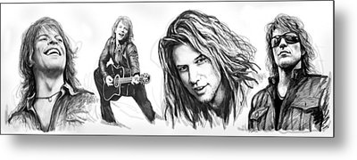 Bon Jovi Art Drawing Sktech Poster Metal Print